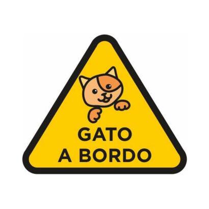 vinilo pegatina-coche gato a bordo amarillo