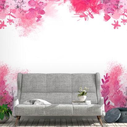 Fotomural Flores Pintadas Rosas