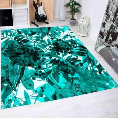 Alfombra PVC Hojas Color Turquesa