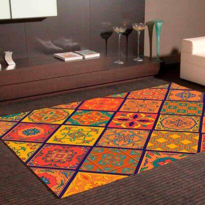 Alfombra PVC Mosaico Azulejos Naranjas
