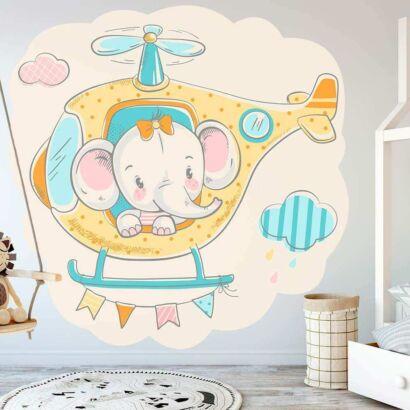 Vinilo Infantil Elefante Helicoptero