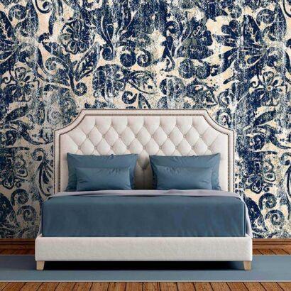 Fotomural Vinilo Zen Floral Azul Arcaico