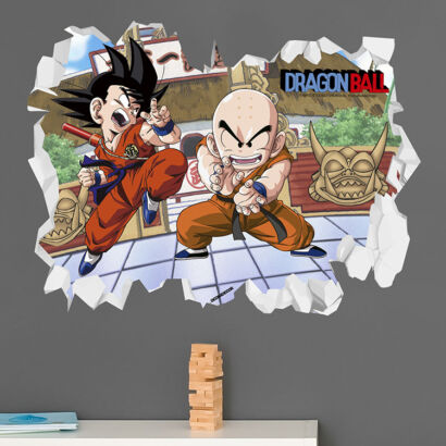 Vinilo de Pared Efecto Hueco 3D Dragon Ball Classic Krilin y Goku Lucha montaje
