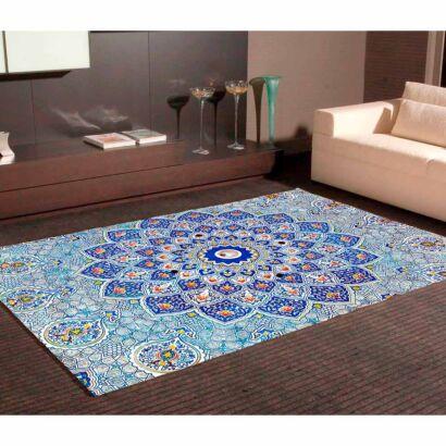 Alfombra PVC Gran Mandala Azul