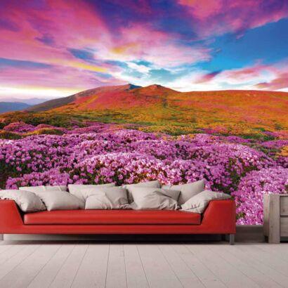 Fotomural Vinilo Montaña Floral Morada
