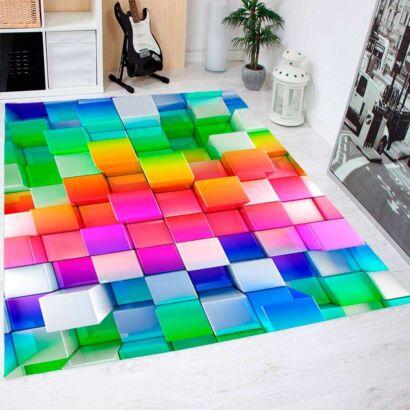 Alfombra PVC Cuadrados 3D Multicolor