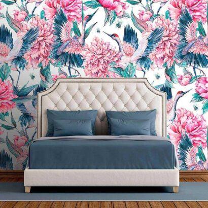 Fotomural Vinilo Zen Grulla Floral