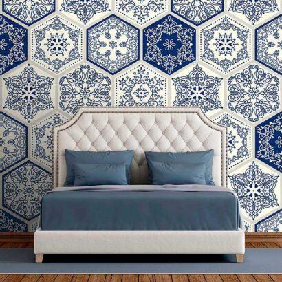 Fotomural Vinilo Zen Mosaico Azul y Blanco