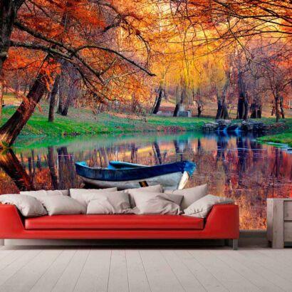 Papel Pintado Embarcación Lago
