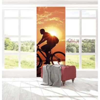 Cenefa Vertical Ciclista al Atardecer