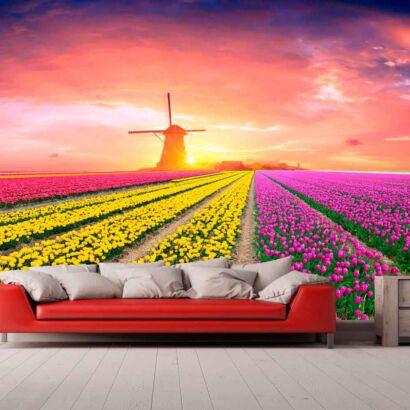 Papel Pintado Campo Tulipanes