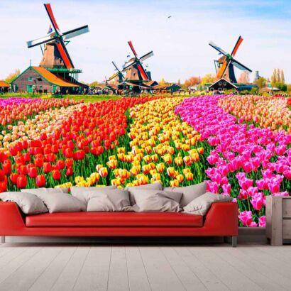 Papel Pintado Tulipanes Acuarela