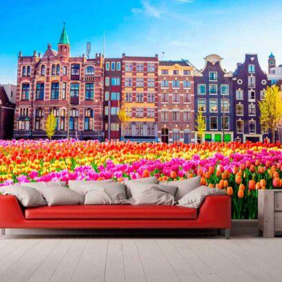 Papel Pintado Tulipanes Ciudad