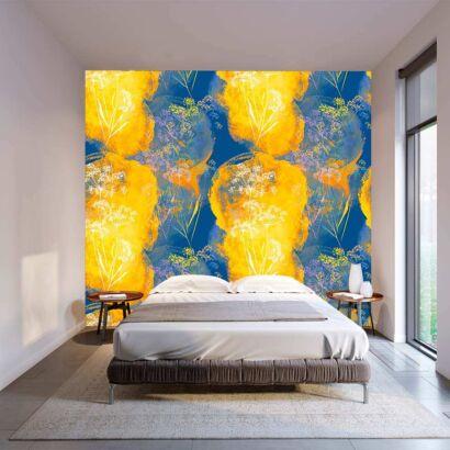 Fotomural Vinilo Floral Arte Naranja Azul