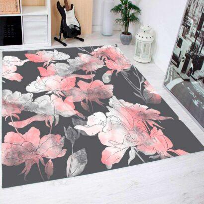 Alfombra PVC Rosas Con Fondo Negro