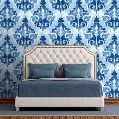 Fotomural Vinilo Zen Rombo Efecto Pintura Azul