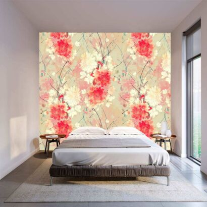 Fotomural Vinilo Floral Abstracto Rojo