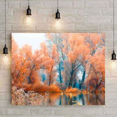 Cuadro Lago Árboles Naranjas