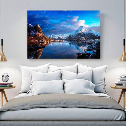 Cuadro Lago Montañas Ciudad