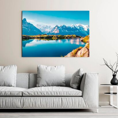 Cuadro Lago Montañas Nevadas
