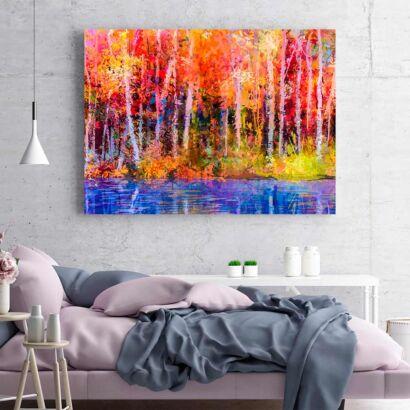 Cuadro Árboles y Lago Multicolor