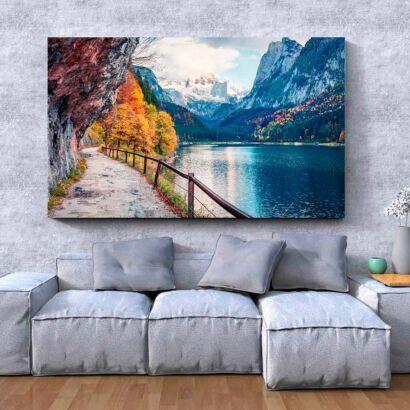 Cuadro Camino con Lago y Montañas