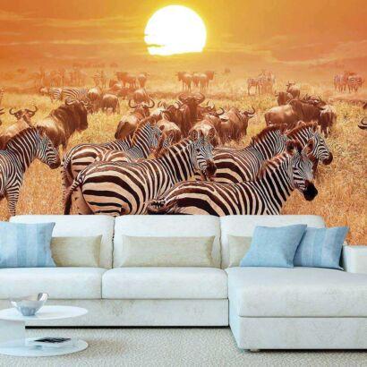 Fotomural Vinilo Africano Cebras y Ñus