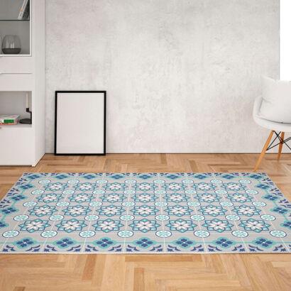 Alfombra vinílica salón azulejos turquesa y gris
