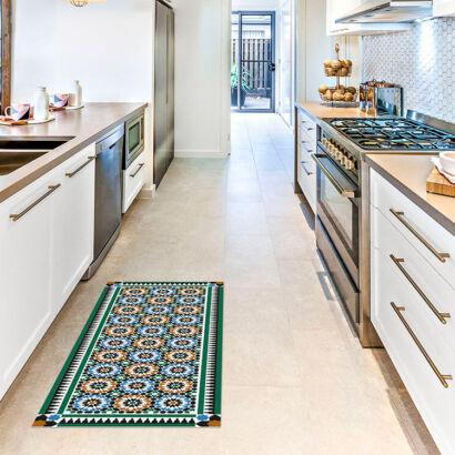 Alfombra vinílica cocina azulejos estilo árabe