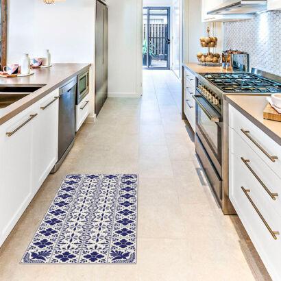 Alfombra vinílica cocina azulejos flores y pájaros medidas