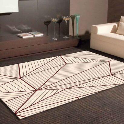 Alfombra PVC Geometría Abstracta Beige