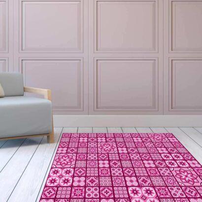 Alfombra PVC Geometría Rosa