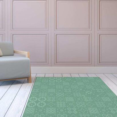 Alfombra PVC Geometría Verde