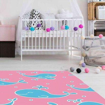 Alfombra PVC Infantil Ballenas Azul y Rosa