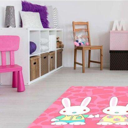 Alfombra PVC Infantil Conejos Corazones