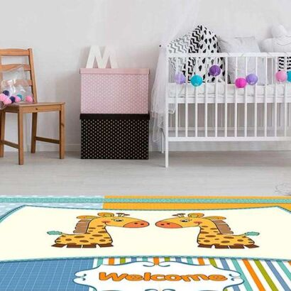Alfombra PVC Infantil Jirafas Welcome