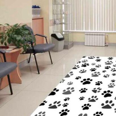 alfombra-pvc-veterinaria-huellas-negras