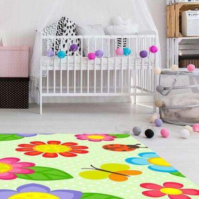 Alfombra PVC Infantil Flores Coloridas