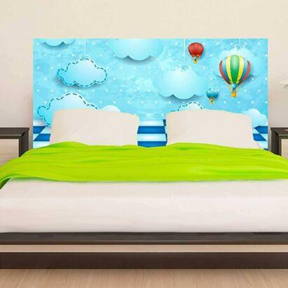 cabecero cama infantil nubes y globos