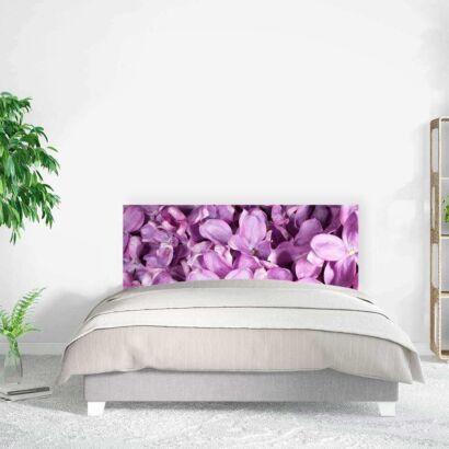 Cabecero Cama Natural Flores Moradas