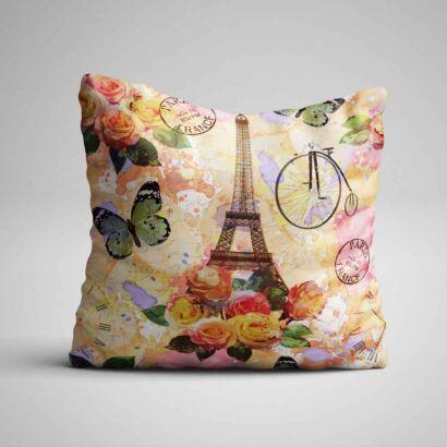 Cojin Vintage Torre Eiffel Floral