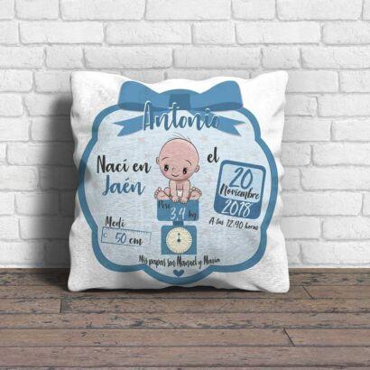 Cojín Infantil Personalizado Bebé Nacimiento Azul