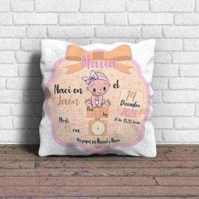 Cojín Infantil Personalizado Nacimiento Rosa Beige