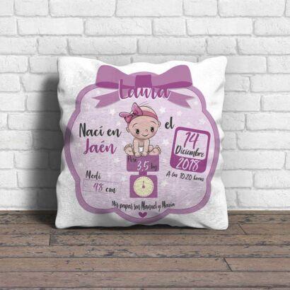 Cojín Infantil Personalizado Bebé Nacimiento Rosa