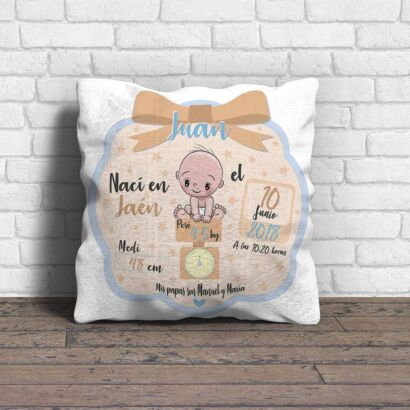 Cojín Infantil Personalizado Nacimiento Azul Beige