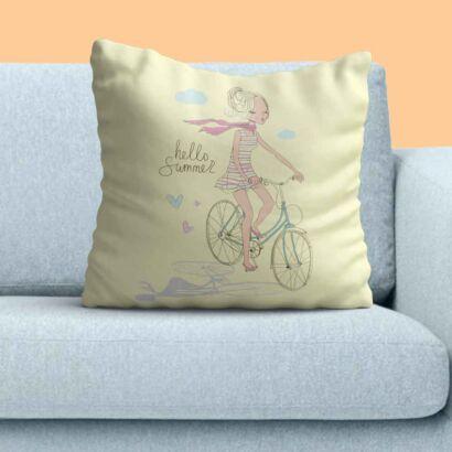 Cojín Niña Bicicleta Hello Summer