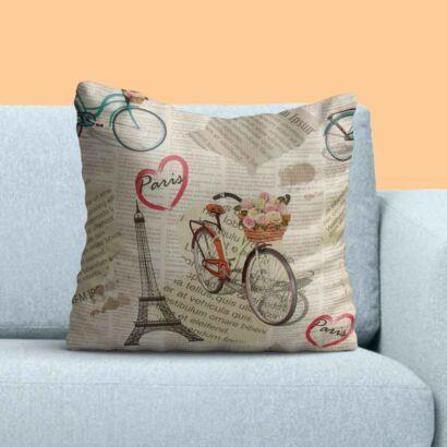 Cojín Vintage Bicicleta Roja París