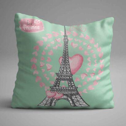 Cojin Torre Eiffel Corazones Rosas