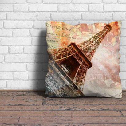 Cojin Vintage Torre Eiffel Carta