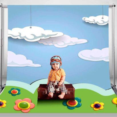 Fondo Fotográfico Infantil 3D Prado Nubes
